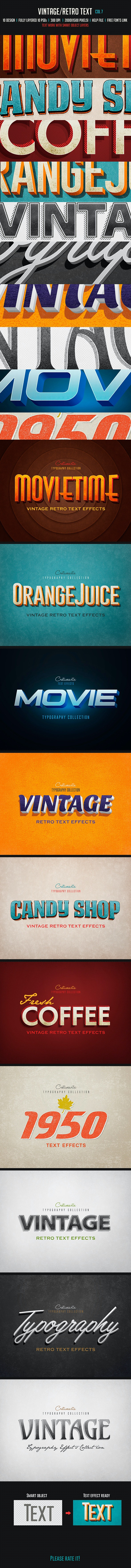 Vintage/Retro Text Col 7 - Text Effects Actions