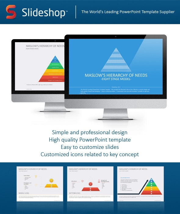 Maslow's Hierarchy of Needs Flat - PowerPoint Templates Presentation Templates
