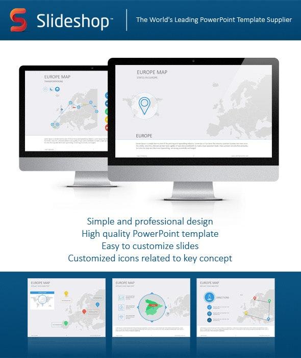 Europe Map Flat - PowerPoint Templates Presentation Templates