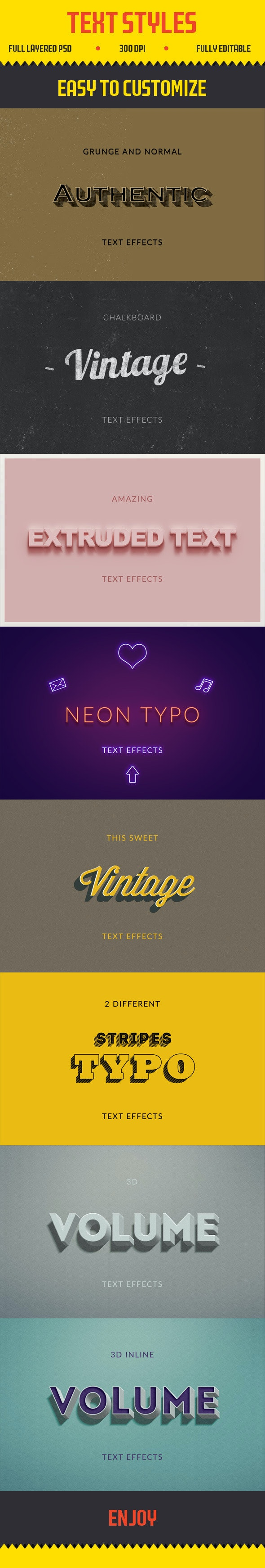 Text Effects | Vintage | 3D | Retro - Photoshop Add-ons
