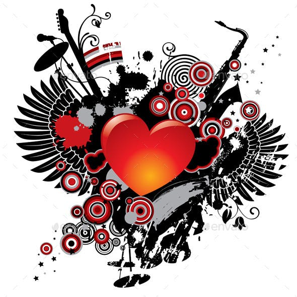 Illustration on a Musical Theme with a Heart