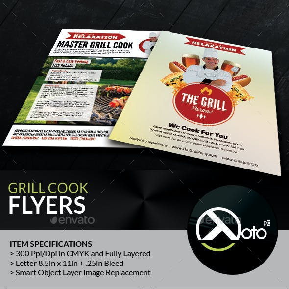 Grill Cook Outdoor Kebab Party Flyer