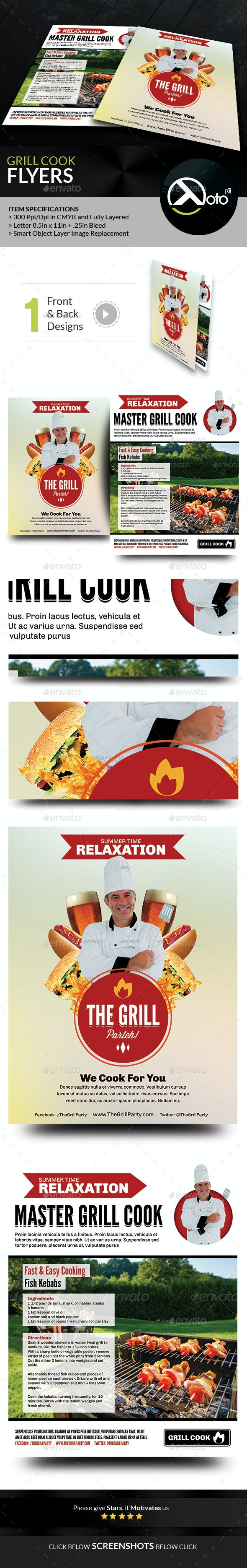 Grill Cook Outdoor Kebab Party Flyer - Flyers Print Templates
