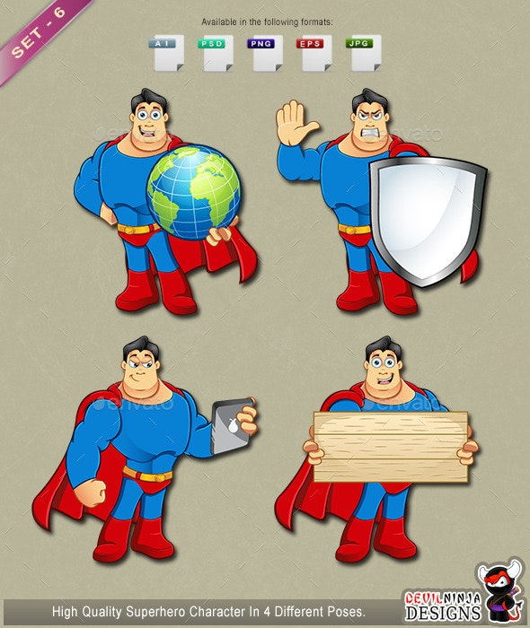 Superhero Mascot - Set 6 - People Characters