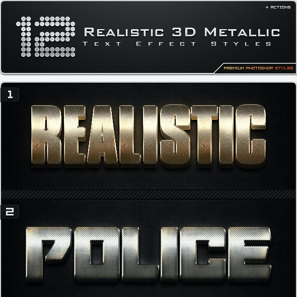 12 Realistic 3D Metallic Styles + Actions