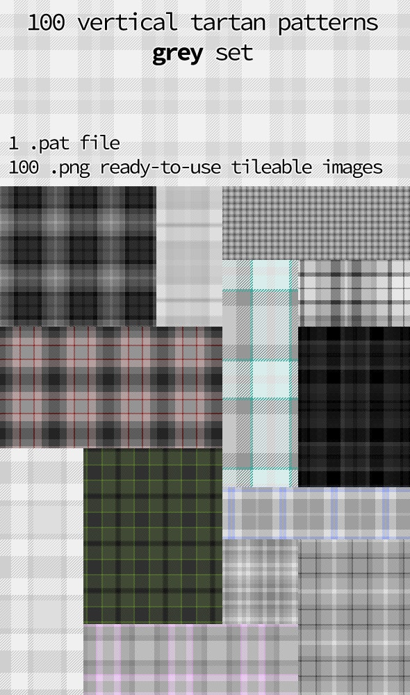Tartan Pattern Collection - Vertical Grey Set - Textures / Fills / Patterns Photoshop