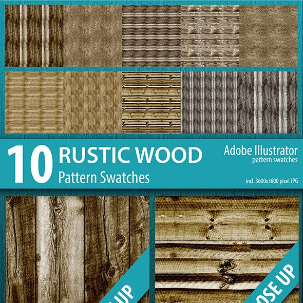 10 Rustic Wood Texture Seamless Pattern Swatches