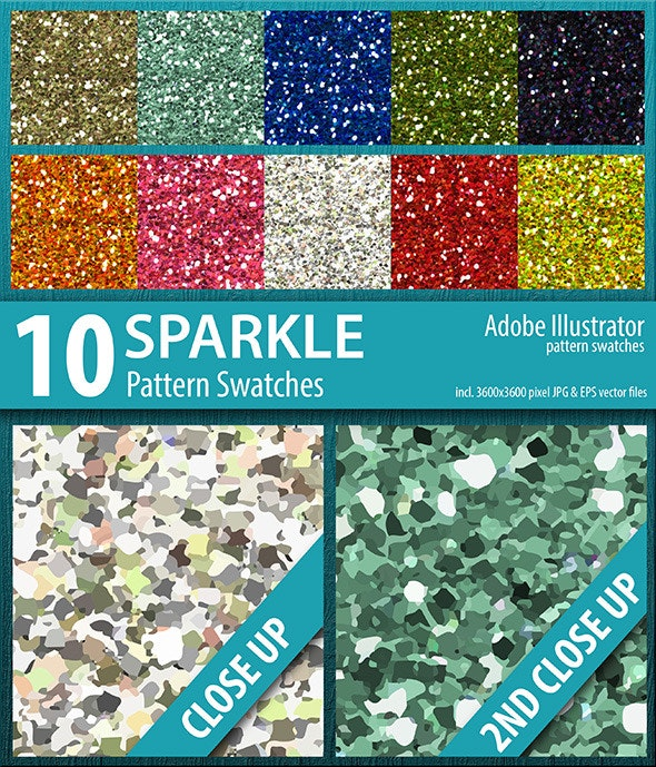 10 Sparkle Glitter Pattern Swatches Vector - Artistic Textures / Fills / Patterns