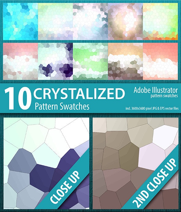 10 Crystalized Mosaic Tile Pattern Swatches Vector - Abstract Textures / Fills / Patterns