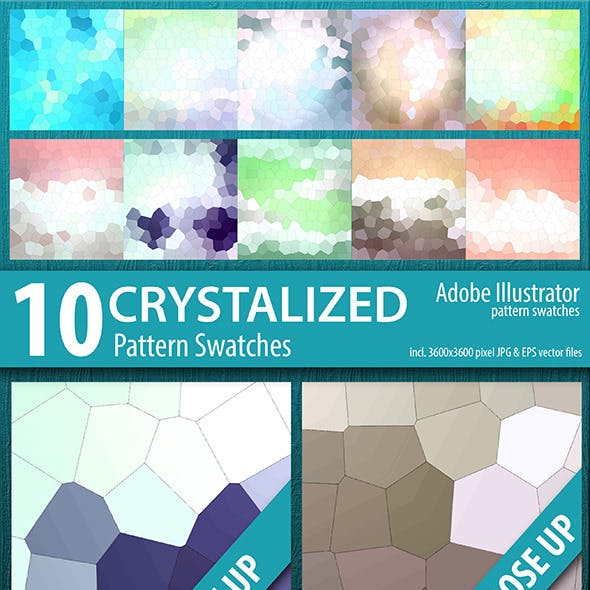 10 Crystalized Mosaic Tile Pattern Swatches Vector