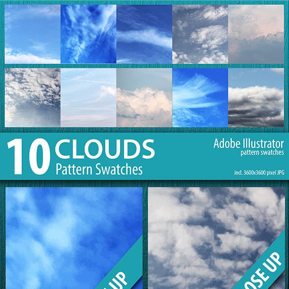 10 Clouds Sky Pattern Swatches Vector