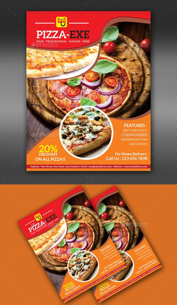 Abstract Pizza Store Flyer  - Flyers Print Templates
