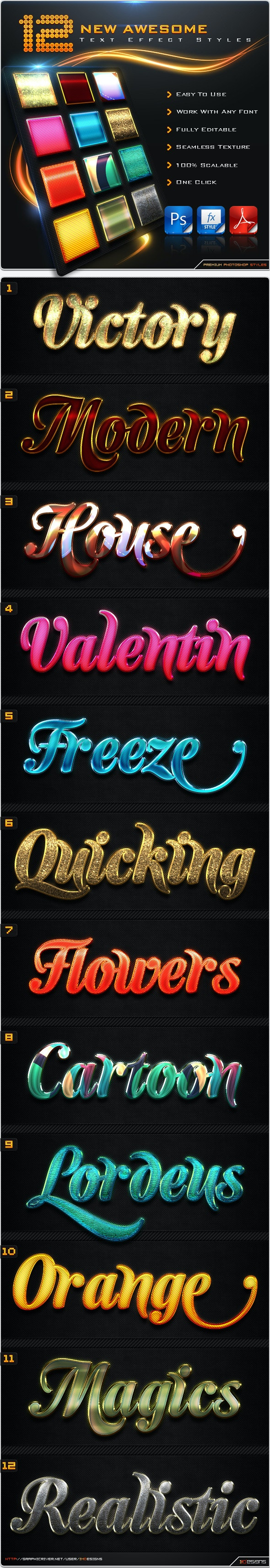 12 New Text Effect Styles - Text Effects Styles