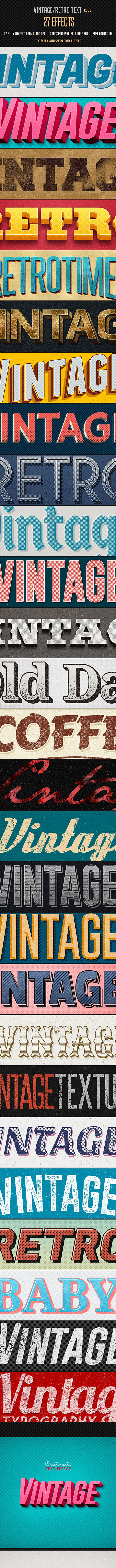Vintage Retro Text Effects Col 8 - Text Effects Styles