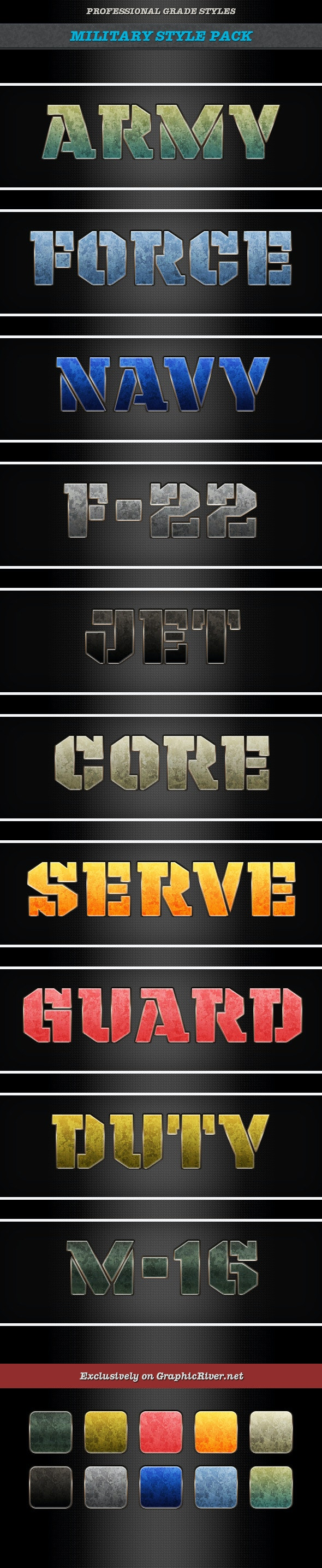 Military Styles - Text Effects Styles