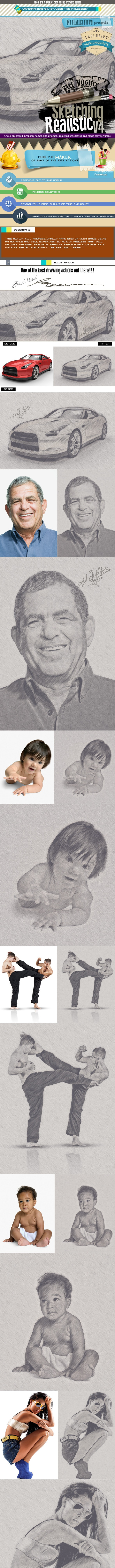 Art Justice Realistic Sketching Vol. 4 - Photo Effects Actions