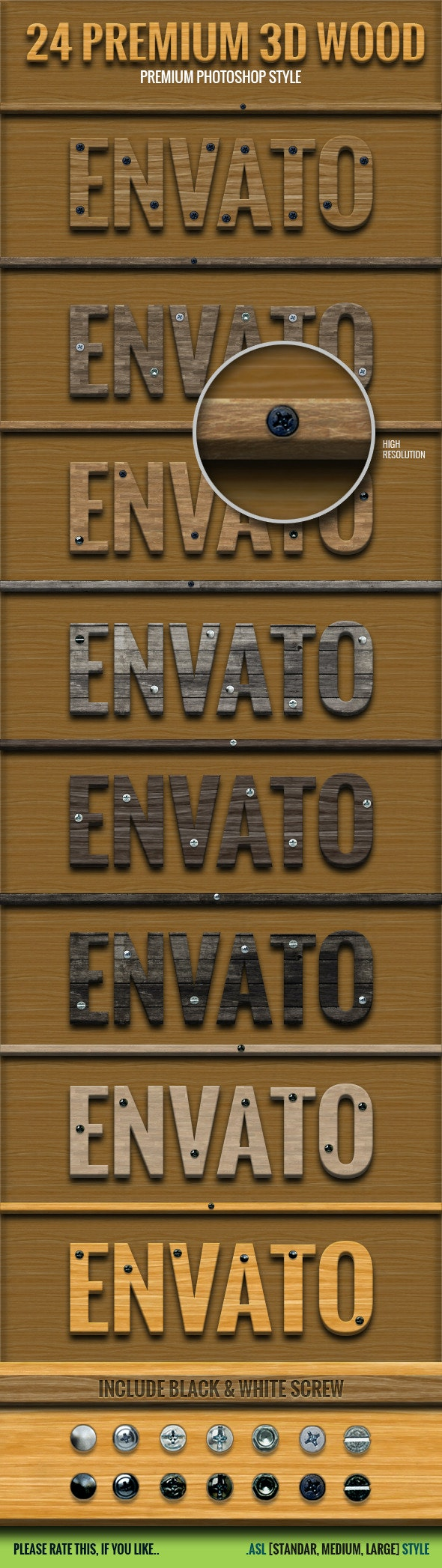 24 Premium 3D Wood Style - Text Effects Styles