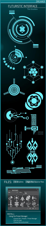 Futuristic Interface - Ten Brushes - Techno / Futuristic Brushes