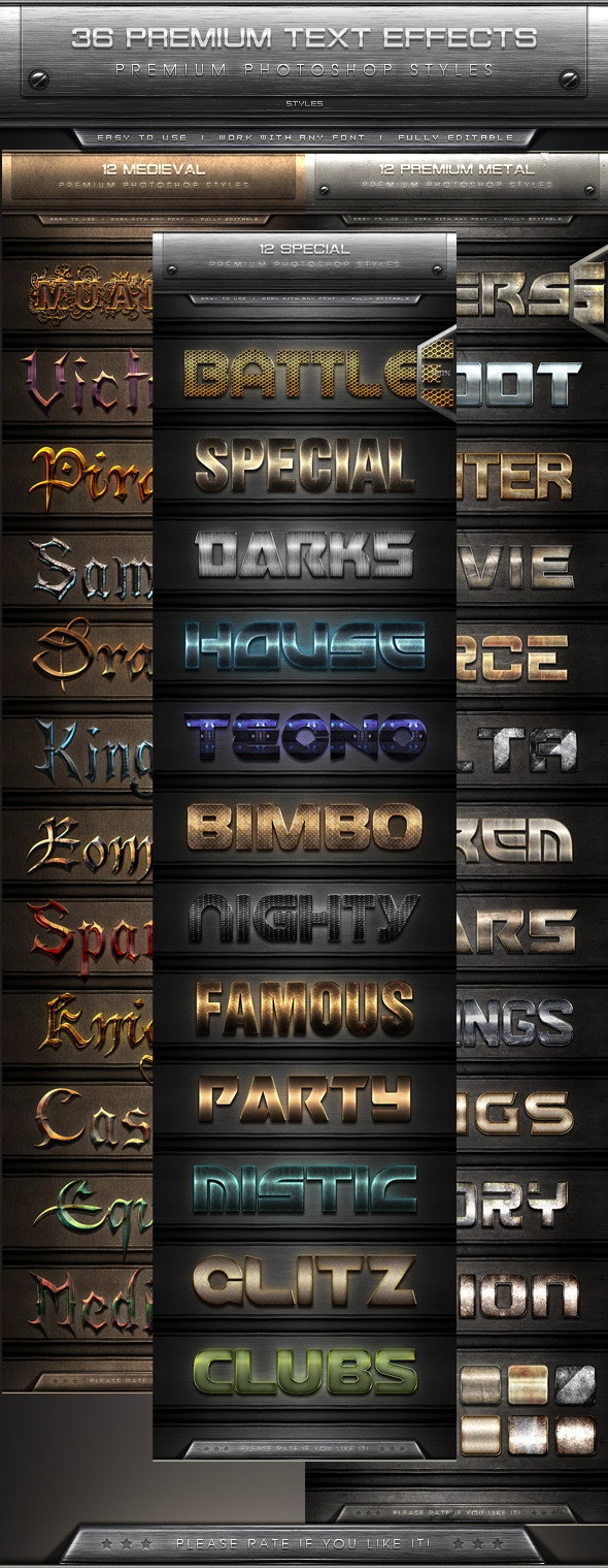 36 Premium Text Effect Styles Bundle - Text Effects Styles