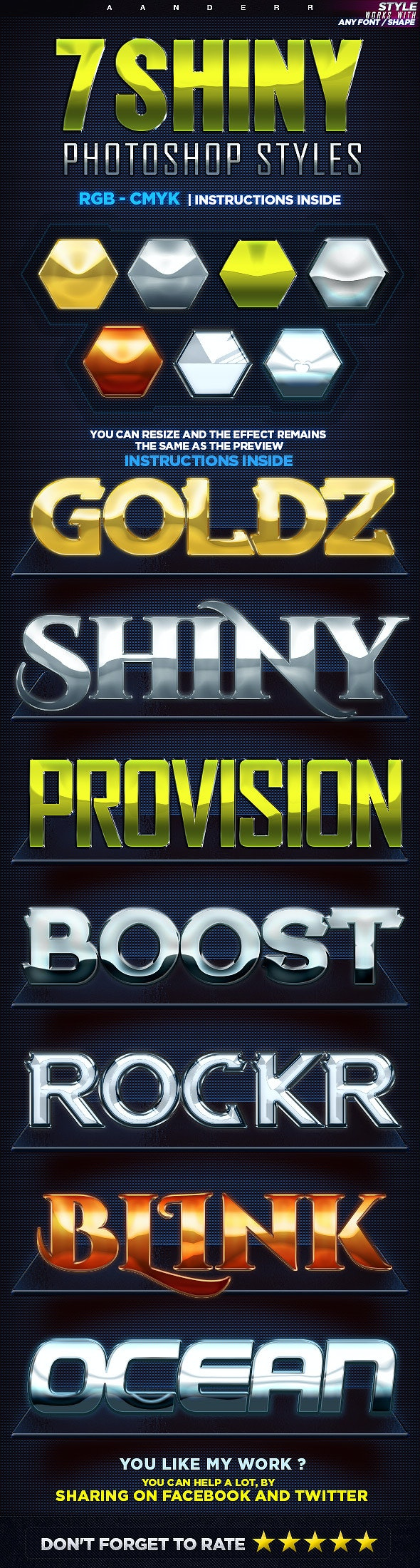 7 Shiny Photoshop Styles - Text Effects Styles