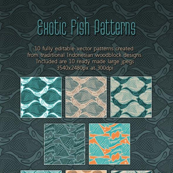 Fish. Elegant Woodcut Printing Block Patterns