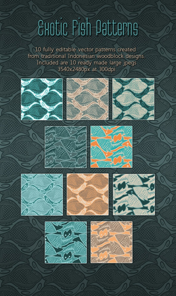 Fish. Elegant Woodcut Printing Block Patterns - Nature Textures / Fills / Patterns