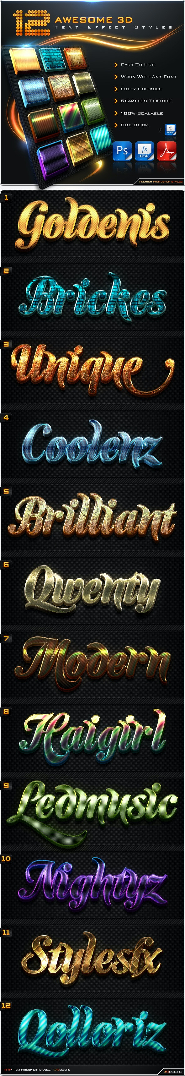12 Awesome 3D Text Effect Styles + Actions - Text Effects Styles