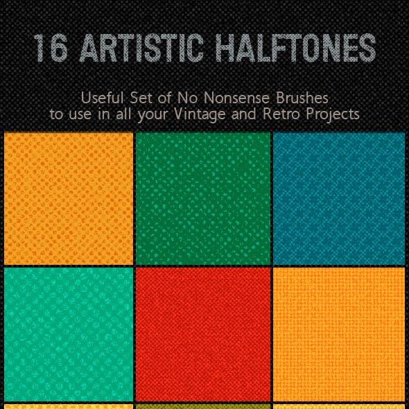 Halftone Retro or Vintage Effect; Unique Brushes