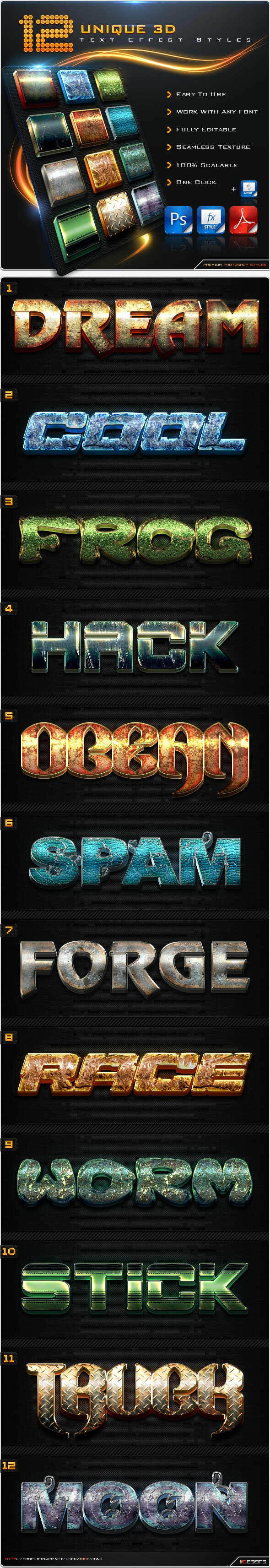 12 Unique 3D Text Effect Styles + Actions - Text Effects Styles
