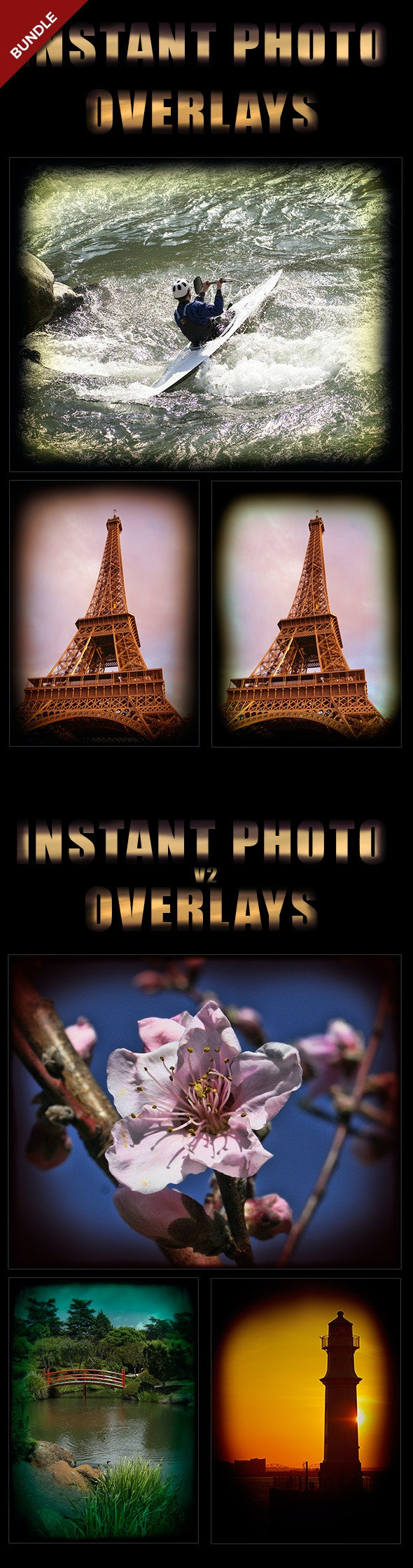 Instant Photo Overlays Bundle - Photo Effects Actions