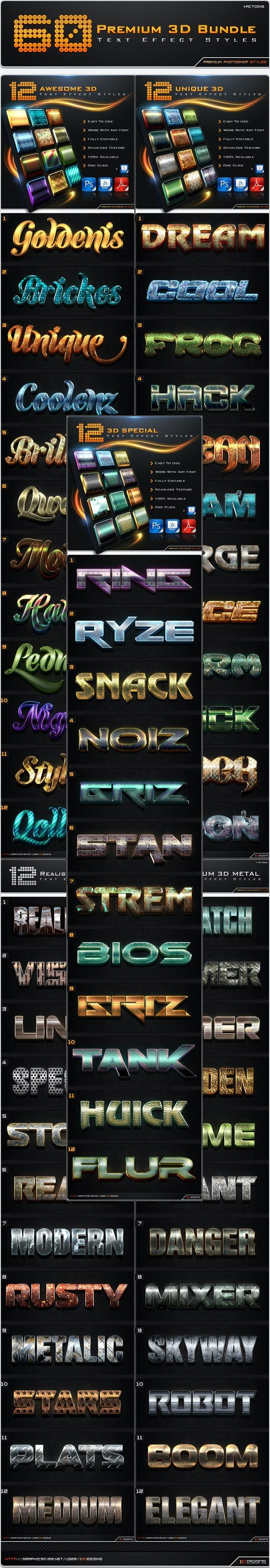 60 Premium 3D Text Effect Styles Bundle - Text Effects Styles