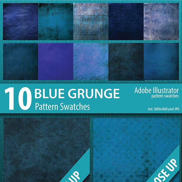 10 Blue Grunge Pattern Swatches Vector