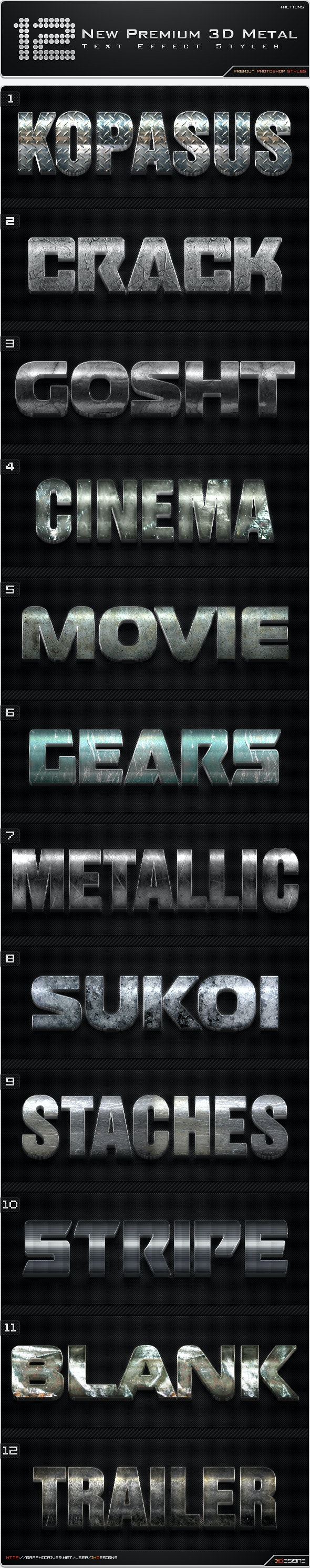 12 New Premium 3D Metal Styles + Actions - Text Effects Styles