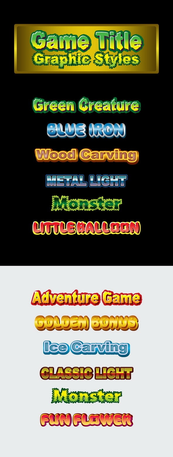 Game Title Graphic Styles - Styles Illustrator