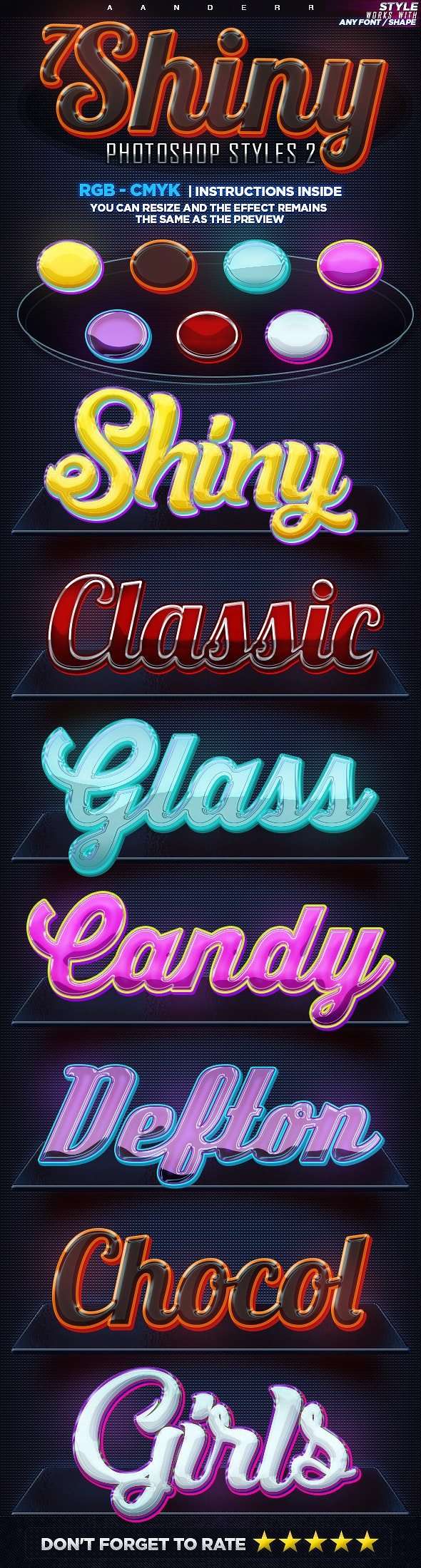 7 Shiny Photoshop Styles 2 - Text Effects Styles