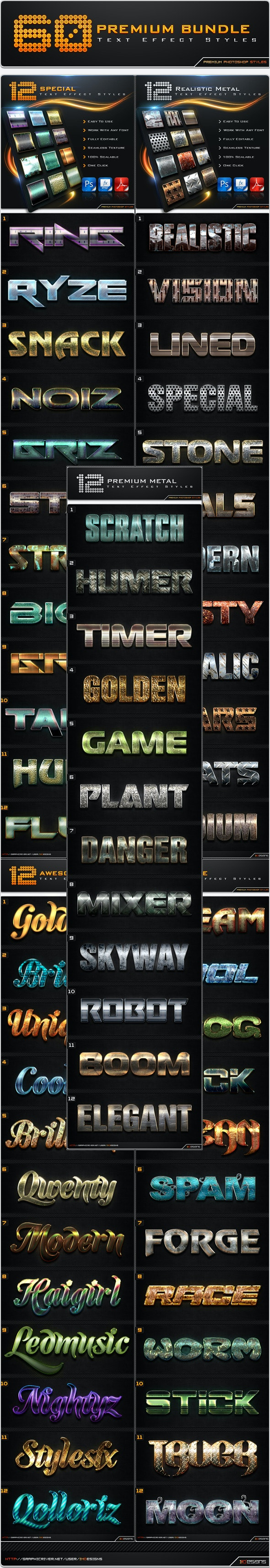 60 Premium Text Effect Styles Bundle - Text Effects Styles