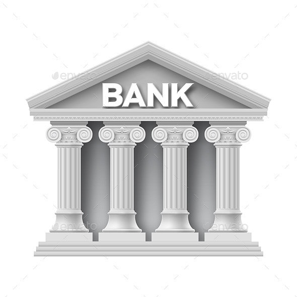 Stone Building of Bank - Objects Vectors