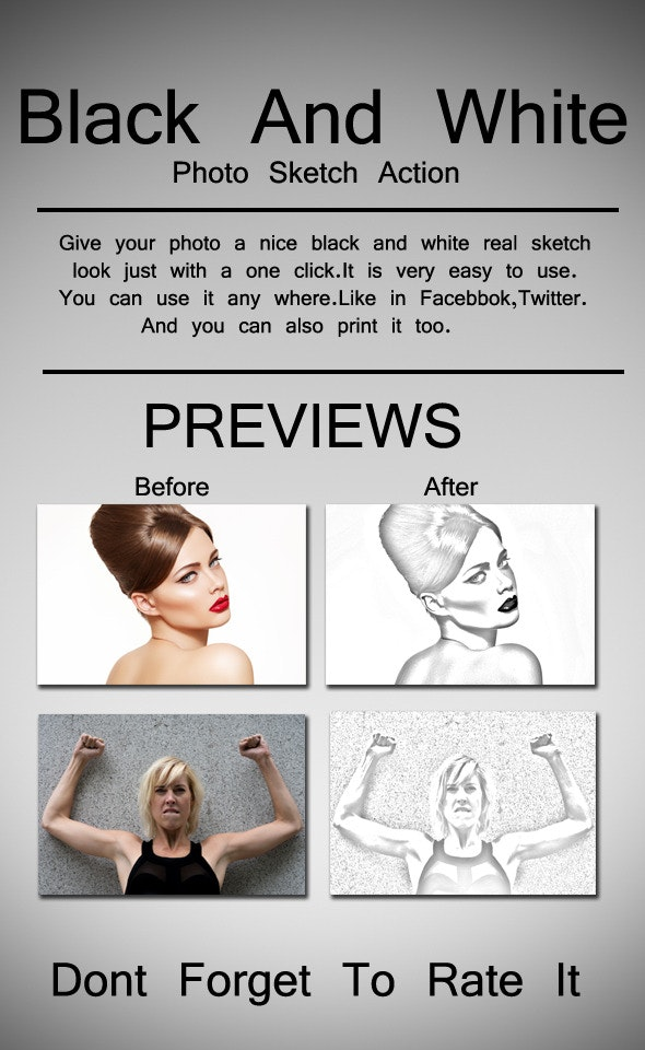 Black And White Sketch Photo Action - Photo Effects Actions
