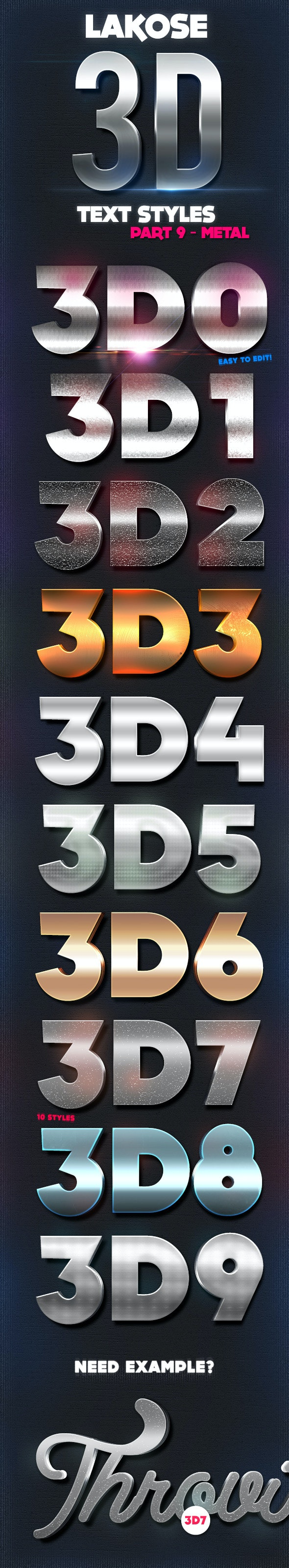 Lakose 3D Text Styles Part 9 - Text Effects Styles