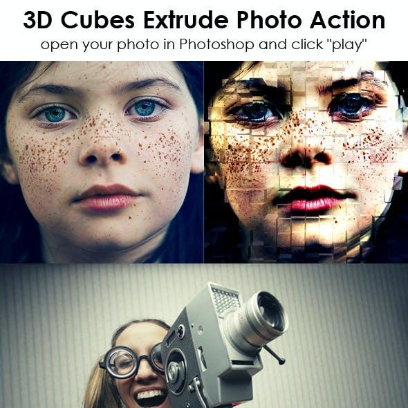 3D Cubes Extrude Photo Action