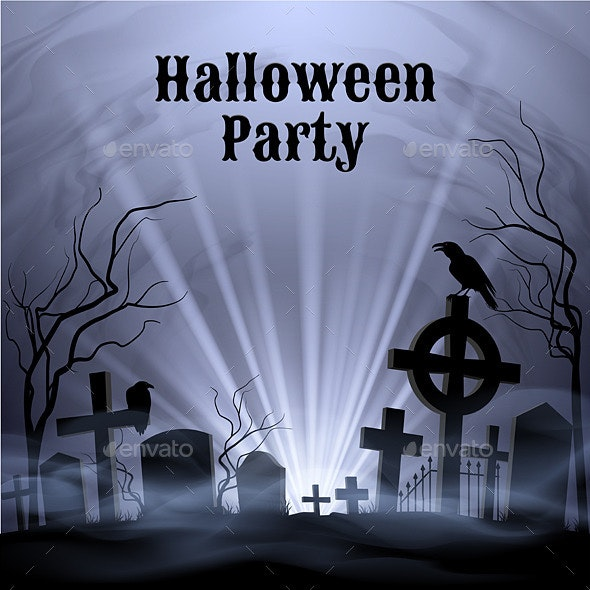 Halloween Party with Eery White Light on a Spooky Graveyard - Halloween Seasons/Holidays