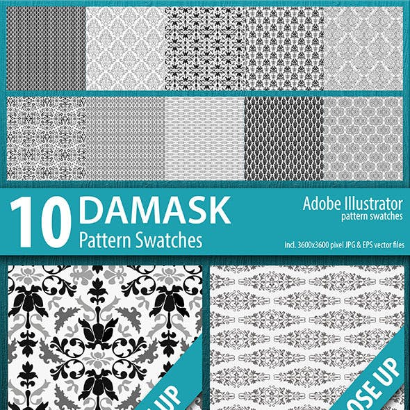10 Damask Flourish Pattern Swatches