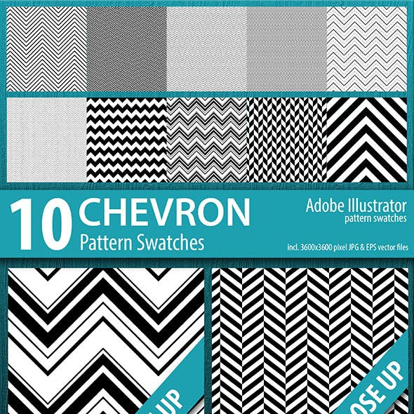 10 Chevron Stripes Pattern Swatches