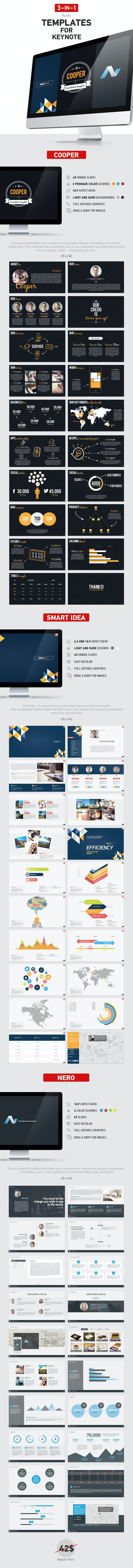 3 in 1 Keynote Bundle  - Keynote Templates Presentation Templates