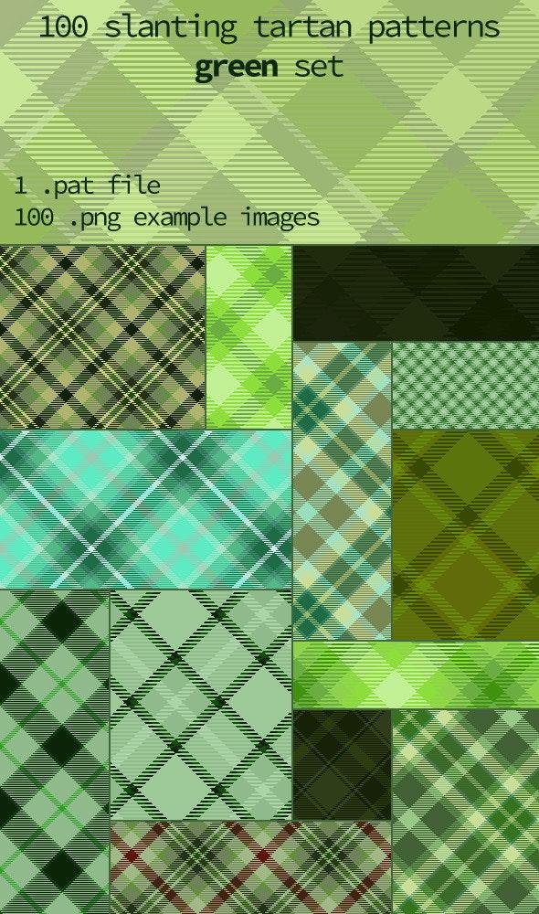 Tartan Pattern Collection - Slanting Green set - Textures / Fills / Patterns Photoshop