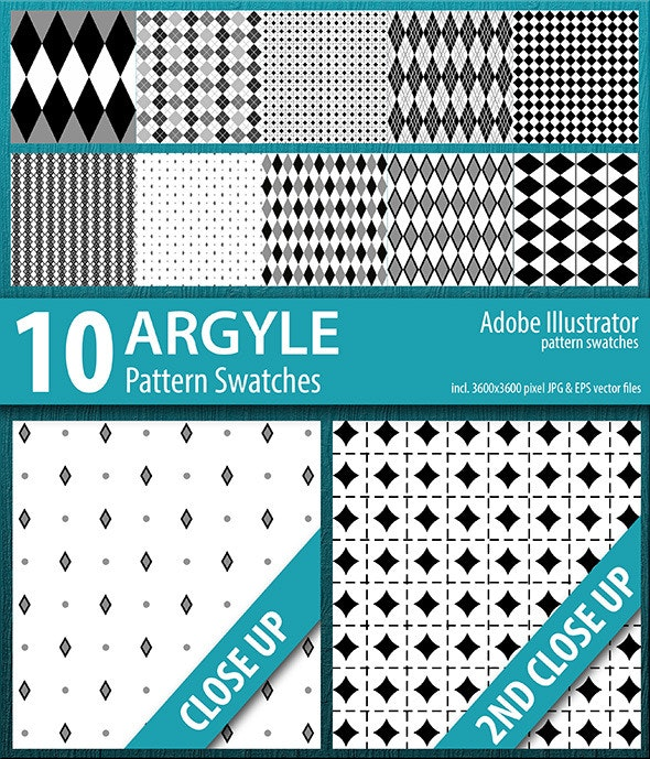 10 Argyle Seamless Pattern Swatches Vector - Urban Textures / Fills / Patterns