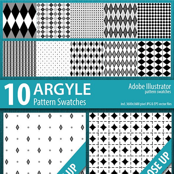10 Argyle Seamless Pattern Swatches Vector