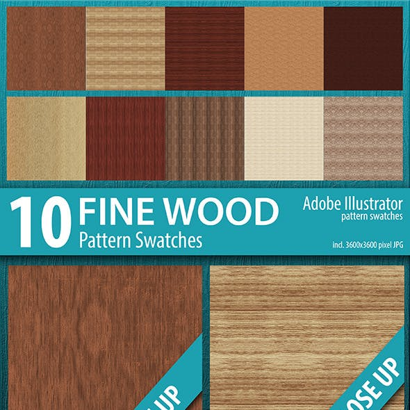 10 Fine Wood Texture Seamless Pattern Swatches
