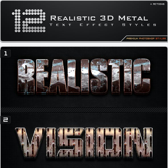 12 Realistic 3D Metal Styles + Actions