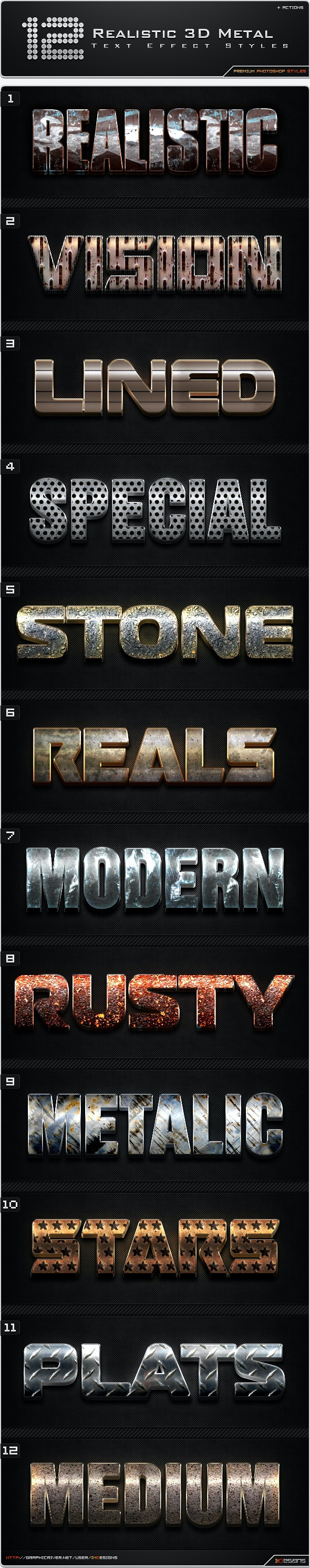 12 Realistic 3D Metal Styles + Actions - Text Effects Styles